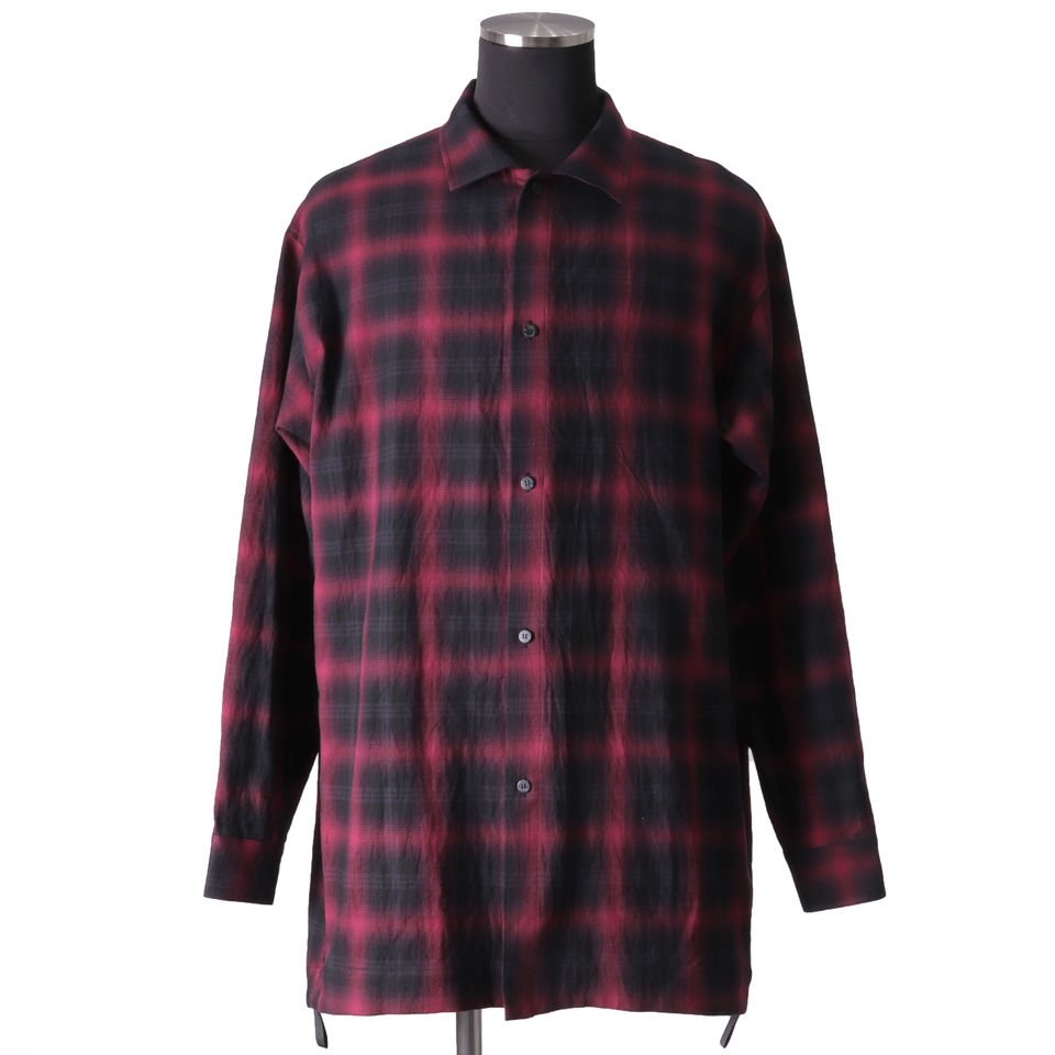 Checked Long Sleeve Shirts BK×RED
