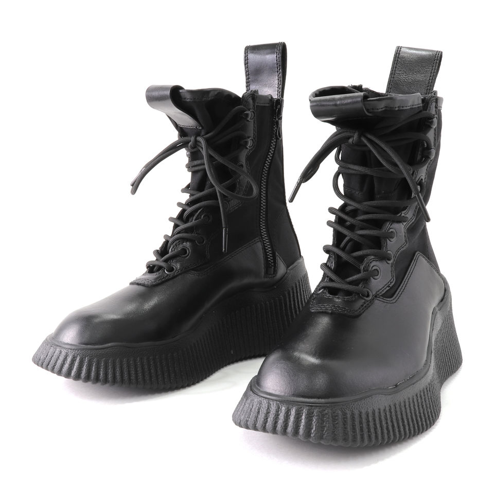 COW LEATHER LACE-UP BOOTS BLACK