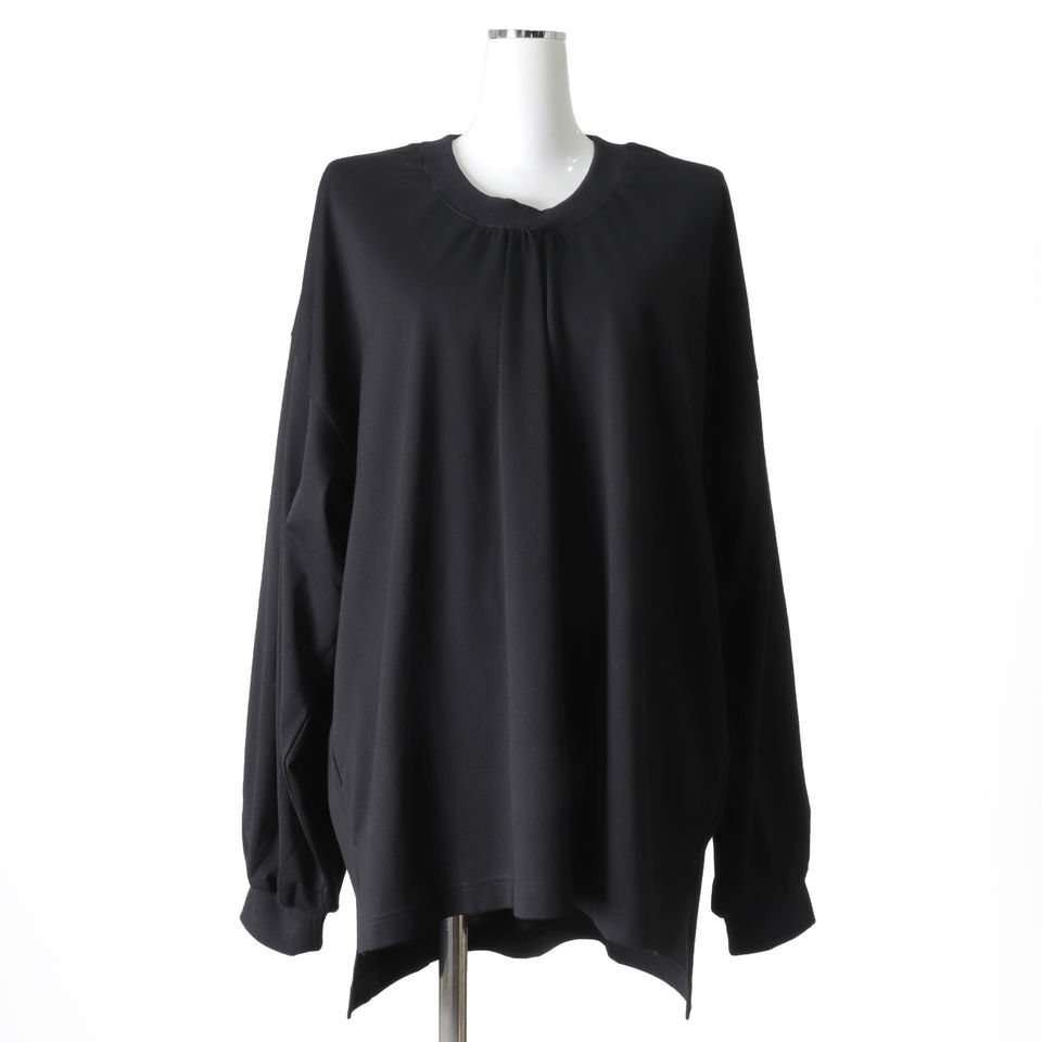 [SALE] 30%OFF MIDIUMISOLID neck gather point long wide T BLACK