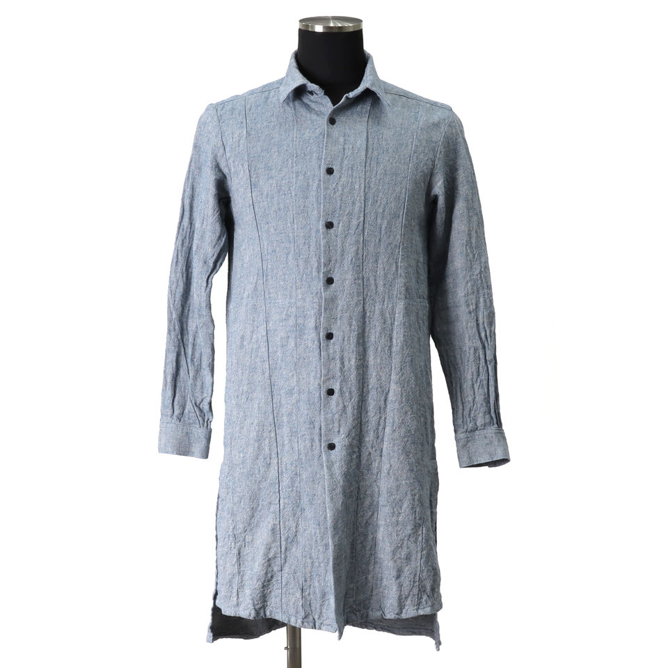 Linen Cambray Triple Wash Long Shirts BLUE arco LIMITED EDITION