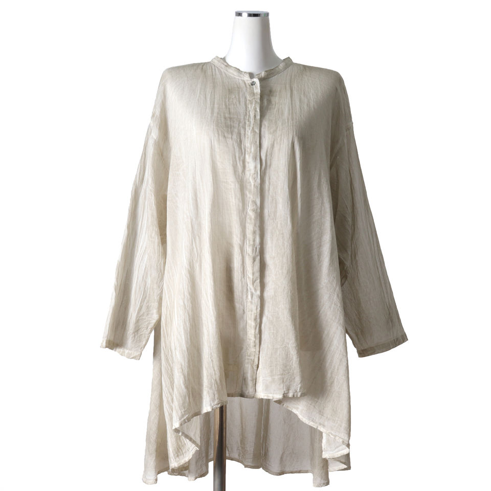 pigment dyed flared shirt L.GRAY