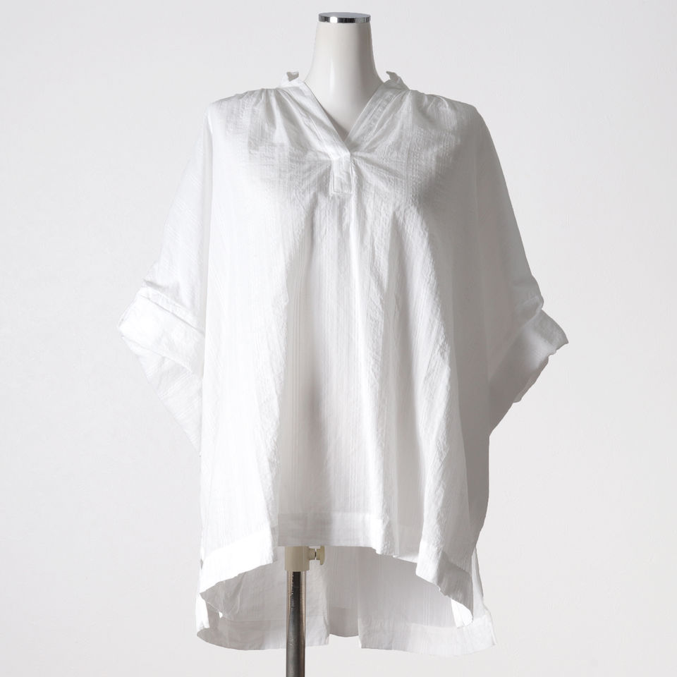 dobby stand collar gather neck wide shirt OFF WHITE