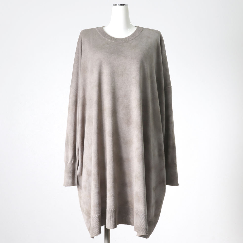uneven dyeing crew neck knit GRAY