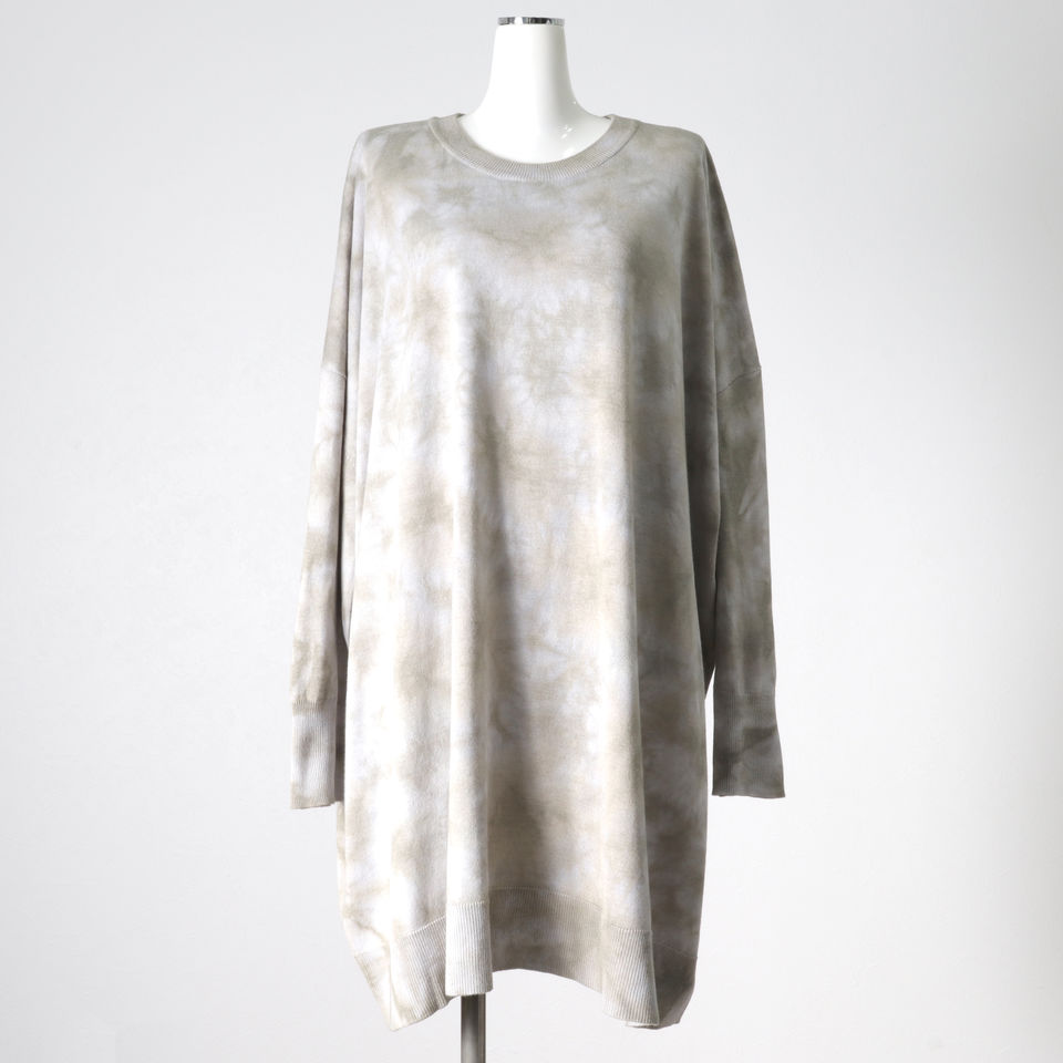 uneven dyeing crew neck knit BROWN