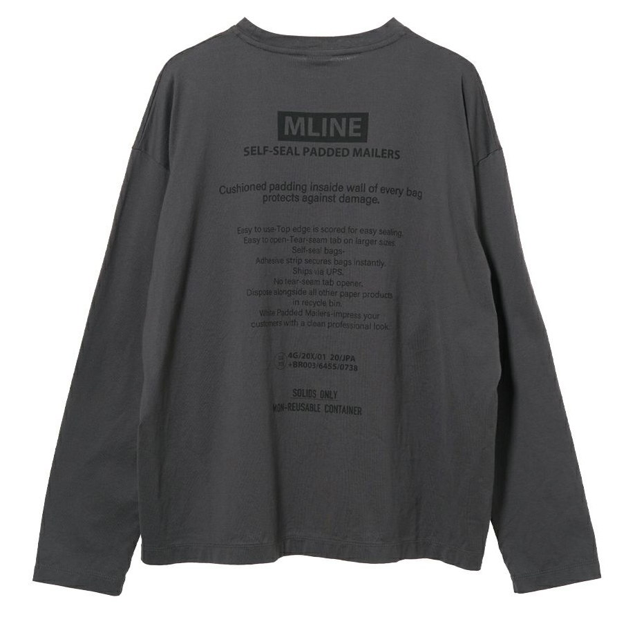 """""""MLINE""""バックロゴプリントロングスリーブT-shirts CHARCOAL"""